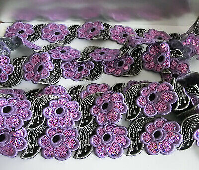40 lilac sequin flower embroidery applique patches black & silver leaf sew iron