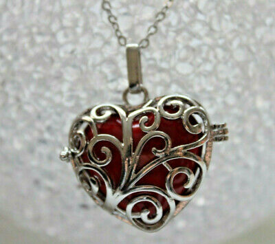 Angel Caller Silver Heart Cage Sound Sphere Red Pendant & Necklace Long