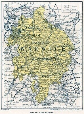 1923 map of England: county of Warwickshire antique ready-mounted print SUPERB