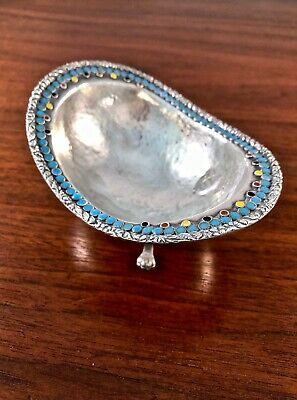Superb Sterling Silver & Enamel Hand Hammered Footed Bowl: Chinese? Russian?