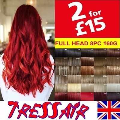 Clip in Hair Extensions Full Head Feels like Remy Straight Synthetic Blonde Red