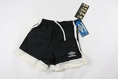 Vintage 90s New Umbro Youth Large Spell Out Nylon Soccer Shorts Black White USA