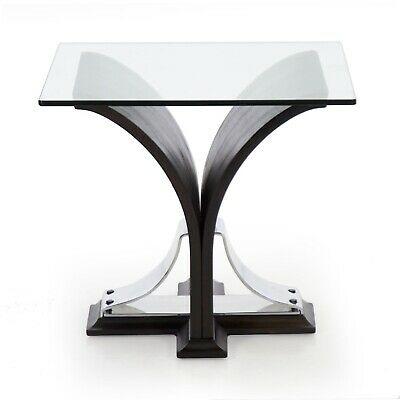VINTAGE ACCENT TABLE Art Deco End Side Table, Black Walnut Glass Top, c. 1930s