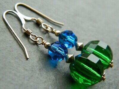 Vintage Art Deco Green Glass Beads, Swarovski Blue Crystal, Rolled Gold Earrings
