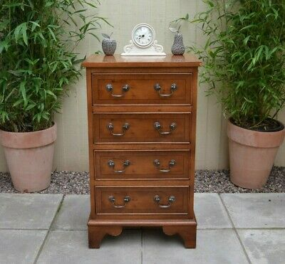 Quality Yew Wood Small Chest of Drawers Antique Georgian Style Bedside Cabinet