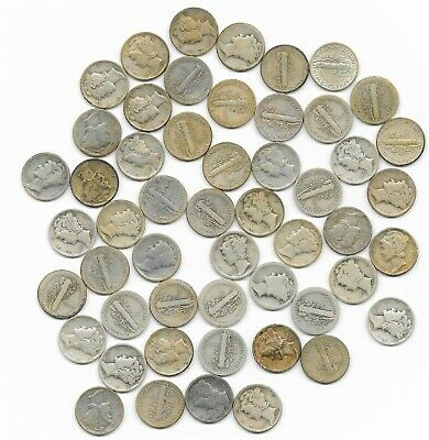 51 Mercury Dimes Silver Mixed Dates Mixed Conditions, Mixed Mints