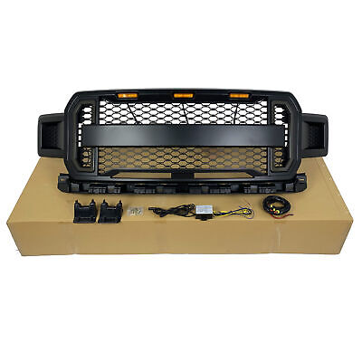 2018-19 The Newest Style Black Front Grill With Amber Light DRL For Ford F-150
