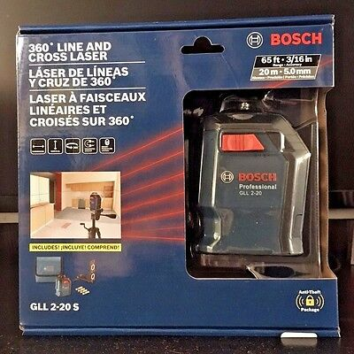 BOSCH 360 Degree Line And Cross Laser 65 Ft. Range Accuracy GLL 2-20 S Brand New
