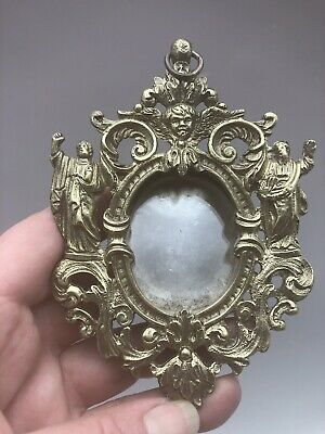 Antique French Reliquary Bronze Frame Saints Angels Crystal Religious