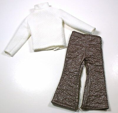 Vintage Mod Ken Doll Clothes 1960s-70s Brown Faux Leather Pants & White Knit Top