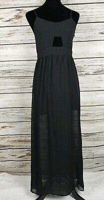 d819224da03fa HM DIVIDED Juniors Sz 10 Slip Dress Spaghetti Keyhole Sweatheart Chiffon  Lace Up