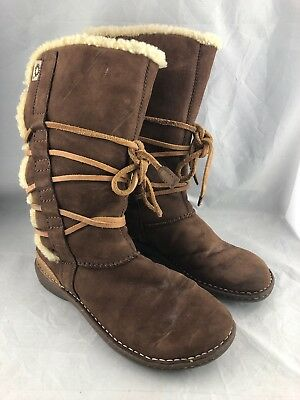 19b03417ace UGG AUSTRALIA CATALINA Boots Tall 1634 Suede Leather Sherling Wrap Laces  Tan 8