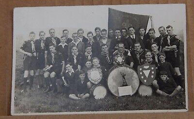 Postcard Calder Valley Scout //group Posing with Trophies Real Photo Unposted