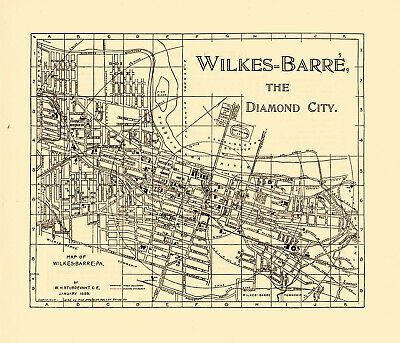 1899 Wilkes - Barre Pennsylvania, W. H. Sturdevant Two-Sided Diamond City Map