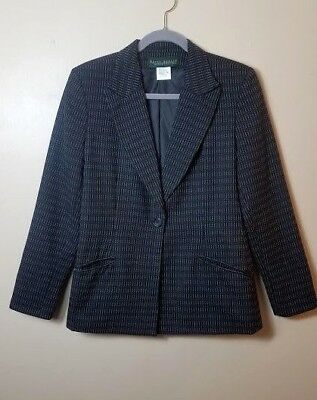 Harve Bernard by Bernard Holtzman Womens Black White Striped Wool Blazer Size 10