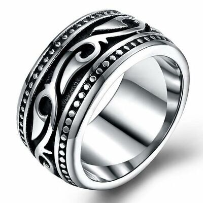 Stainless Steel Wiccan Slavic Surfer Waves Aztec Ring Pagan Nordic Punk Mayan