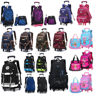 1/3PCS Kids Teenagers School Bag Girl Boy Trolley Wheels Removable Backpack