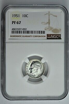 1951 10c Silver Proof Roosevelt Dime NGC PF 67