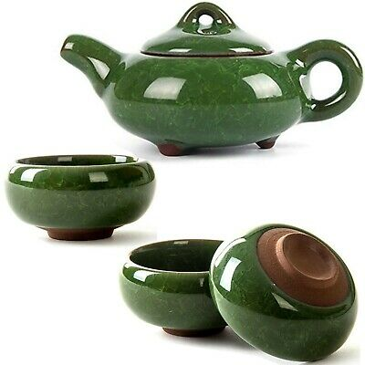7 Piece Chinese Tea Set Traditional Kung Fu Porcelain Tea Pot + Cups Dark Green