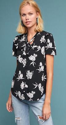 7133cd71782 MAEVE ANTHROPOLOGIE MAGDA Ruffle Floral Printed Sheer Tunic Blouse ...