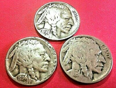 1934D, 1935D, 1936D   Variety II,  Lot of 3 Buffalo Nickels 5 Cent
