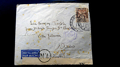 """Very Rare Libya 1938 To Italy Cancelled """"Bengasi"""" With Italian """"Censor"""" Cover Wi"""