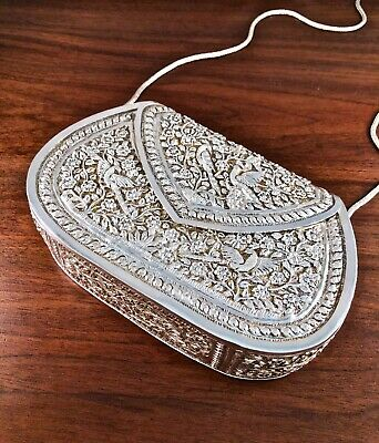 Important Large Chinese Solid Sterling Silver Handmade Purse: Blossoms & Birds