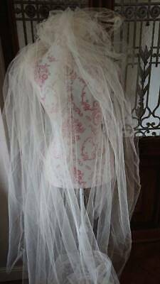 DELICIEUX LGE PANEL ANTIQUE FRENCH FAIRYTALE OLD WHITE FINE SILK TULLE 1920s