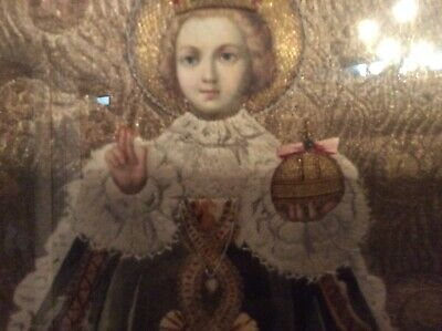 19thC Religious Gold Thread Embroidery,Hand Painted Face-Infant Of Prague
