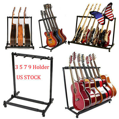 3/5/7/9 Holder Multiple Guitar Stand Stage Folding Bass Instrument Rack Acoustic