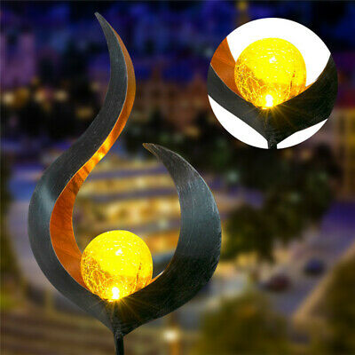 Solar Powered Metal Stake LED Garden Light Outdoor Flame Effect Feature Ornament