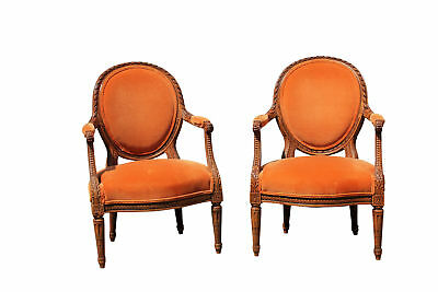 Pair of French Style Carved Armchairs with Orange Upholstery