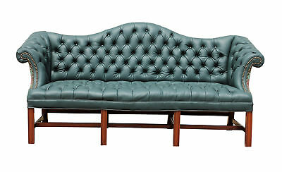 Reupholstered Green Genuine Italian Leather Camelback Tufted Sofa