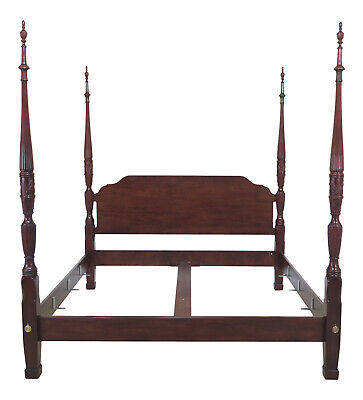 47201EC: HENREDON King Size Mahogany Rice Carved Poster Bed
