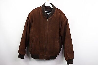 3360d61fd VINTAGE 90S MENS Medium Full Zip Suede Leather Flight Bomber Jacket Coat  Brown