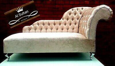 Stylish Chaise Longue in plush charcoal velvet. With crystal buttons(8 colour)..