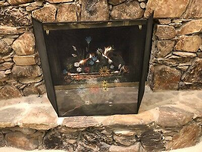Antique Vintage Unique Trifold Hand Painted Fireplace Firescreen Flowers