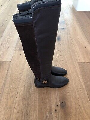 dcde52952c0 NWB Tory Burch Wyatt Over The Knee Boot Size 7.5 Burnt Chocolate  Leather Suede