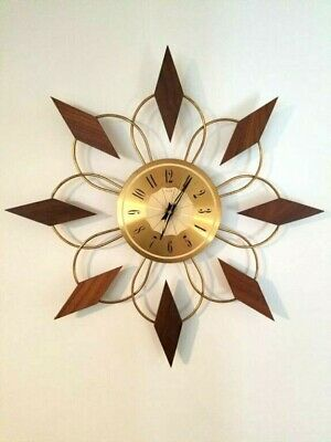 Vintage Mid Century Atomic Starburst Clock Brass Teak Roxhall Works Cool Design