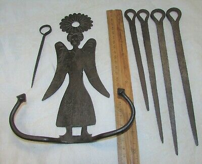 Antique Pennsylvania Hand Forged Iron ANGEL Skewer Holder w/ 5 Wrought Skewers