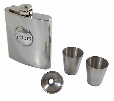 Groom Wedding Stainless Steel Hip Flask 6Oz Funnel & Shot Glasses Made In Uk -Ae
