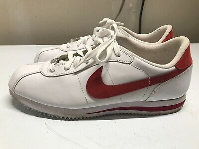 wholesale dealer 9b6f7 0574a NIKE CORTEZ Mens Size 11.5. White Leather Red Swoosh. Athletic Shoes