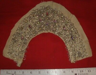 vintage seed beaded rhinestone Handmade dress collar trim antique pearl wedding