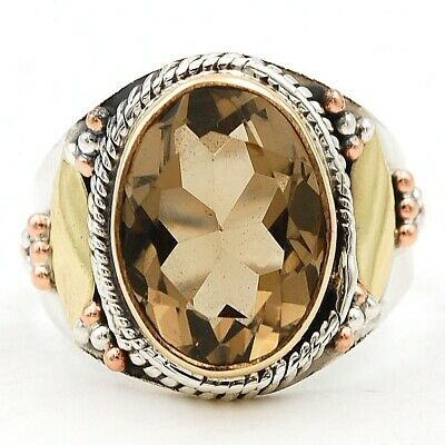 5CT Three Tone Smoky Topaz 925 Solid Sterling Silver Ring Jewelry Sz 8.5