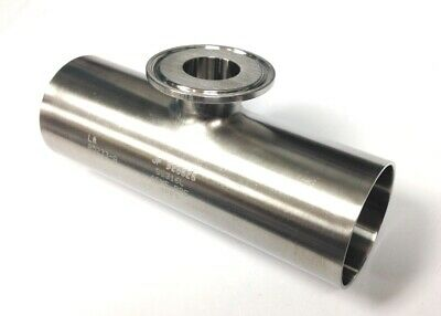"""2"""" O.D. x 1"""" TRI-CLAMP TEE, 316L SS, Sanitary, Polished Butt Weld"""