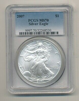 2007 American Silver Eagle 1 oz Coin PCGS MS 70 Exact Shown