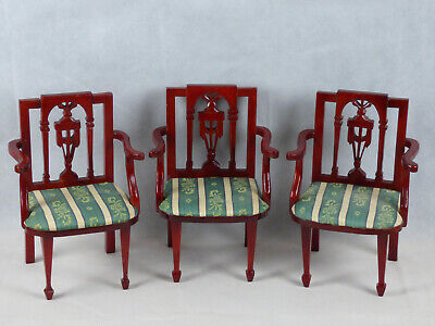 Vintage Antique Salesman Sample/ Doll Miniaute Chair with Cushion Lot of 3