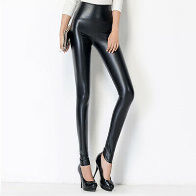 Women Skinny Faux Leather Stretchy Pants Leggings Pencil Tight Trousers Newly