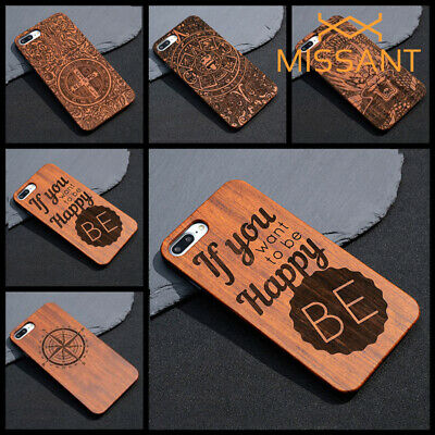 Fashion Carved Pattern Natural Wood Handmade Carving Wooden Protective Case Skin