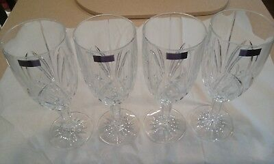 NEW Marquis By Waterford Crystal Brookside Footed 12oz..Goblets Glasses 4 QTY.